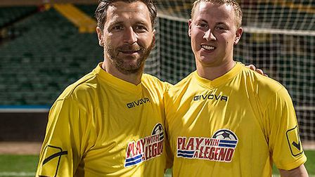 Play With A Legend returns to Carrow Road with Darren Eadie (left) joining Ruel Fox and Paul McVeigh