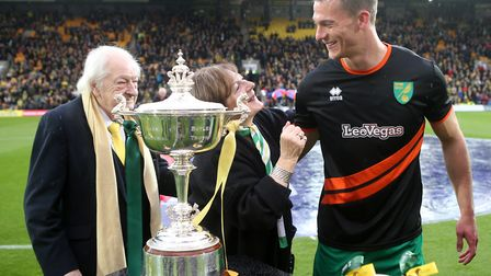 The expression says it all as Norwich City's joint majority shareholder Delia Smith looks up to Chri