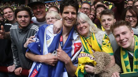 Timm Klose with Canaries fans during the title celebrations at Aston Villa earlier this month Pictur