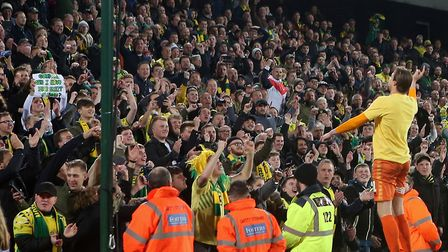 Tim Krul enjoyed his Premier League promotion celebrations with the Barclay Stand at Carrow Road. Pi