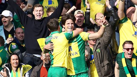 Timm Klose's first goal for Norwich City came in a 3-2 home Premier League win over Newcastle during