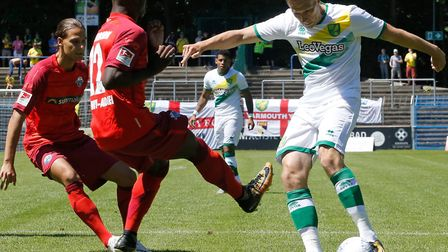Norwich City attacker Marco Stiepermann featured against Paderborn last summer Picture: Focus Images
