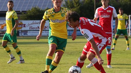 Todd Cantwell in action during Norwich City's 2-1 pre-season loss to Union Berlin Picture: Paul Ches