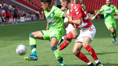 Max Aarons was involved as Norwich City lost 1-0 to Charlton Athletic during pre-season Picture: Pau