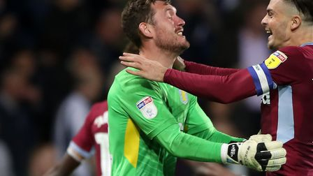 Jed Steer celebrates play-off final semi-final victory over West Brom with Aston Villa team-mate Jac