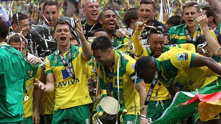 The Norwich players on the podium at the end of the Sky Bet Championship Play-off Final at Wembley S
