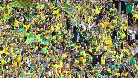 The Norwich fans celebrate their side's 1st goal during the Sky Bet Championship Play-off Final at W