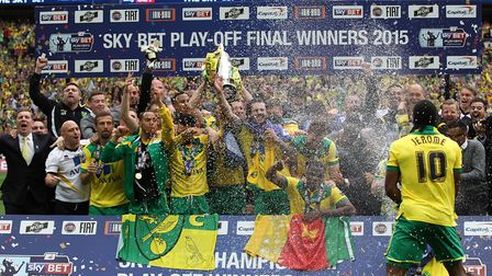 The Norwich players lift the trophy at the end of the Sky Bet Championship Play-off Final at Wembley