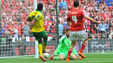 NCFC v Middlesbrough at Wembley for the play off. Jerome scores the first goal.Picture by SIMON FINL
