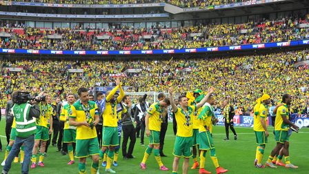 NCFC v Middlesbrough play off at Wembley as City win and everyone celebrates.Picture by SIMON FINLAY