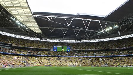 The yellow hordes before the Sky Bet Championship Play-off Final at Wembley Stadium, LondonPicture b