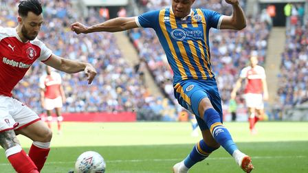 Norwich City striker Carlton Morris in action for Shrewsbury against Rotherham during the 2018 Leagu