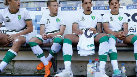 Todd Cantwell, Felix Passlack, Ben Godfrey and Max Aarons await duty in pre-season for Norwich City.