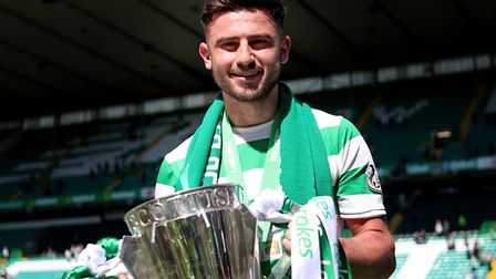 Patrick Roberts with the Scottish Premiership trophy at Celtic Park in 2018 Picture: Jane Barlow/PA