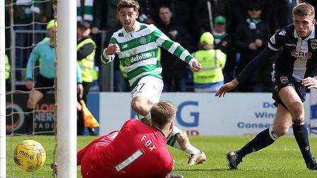 Patrick Roberts scoring for Celtic at Ross County in the Scottish Premiership in October 2016 Pictur
