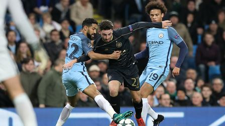 Patrick Roberts in Champions League action for Celtic against his parent club Manchester City during