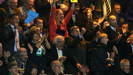 Scenes of jubilation in the directors' box as Norwich secure their first win of the 2012-13 season P