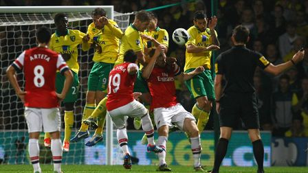 City keep out Santi Cazorla's free-kick as they beat the Gunners 1-0 in October, 2012 Picture: Paul