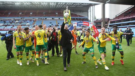 Sporting director Stuart Webber with the Championship trophy after victory at Villa Park Picture: Pa