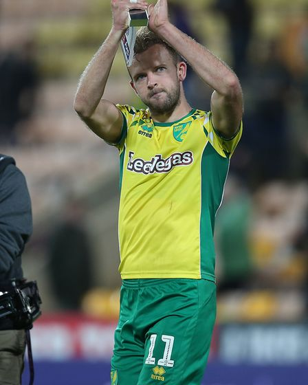 Jordan Rhodes applauds the fans after his double against Villa in October Picture: Paul Chesterton/F