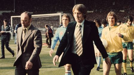 Ron Saunders, left, and John Bond leads out their teams at Wembley for the 1975 League Cup final Pic