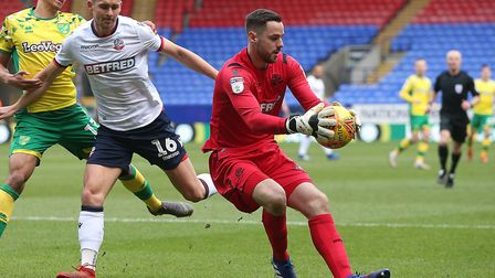 Remi Matthews, pictured during Bolton's 4-0 loss to Norwich City in February, has been linked with I