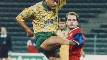Jeremy Goss scoring his famous goal for Norwich City against Bayern Munich in the Uefa Cup in 1993 P