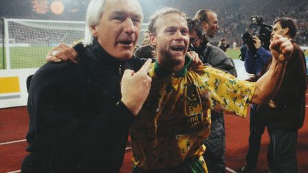 Manager Mike Walker, left, and Jeremy Goss celebrating Uefa Cup victory at Bayern Munich in 1993 Pic