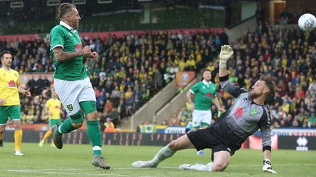 Darren Huckerby was back in action at Carrow Road last month as part of a charity fund-raiser celebr