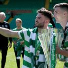 Patrick Roberts takes a selfie with Kieran Tierney as they parade the 2018 Scottish Premiership trop