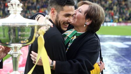 Joint majority shareholder Delia Smith gave Emi Buendia a big hug after he finished third in the Pla