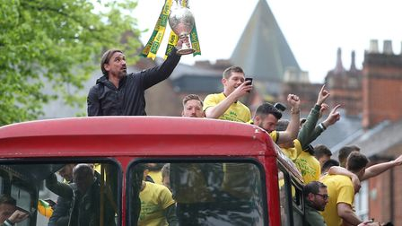 Head coach Daniel Farke and his Norwich City players made the most of their title celebrations Pictu