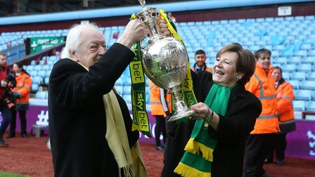 Majority shareholders Michael Wynn Jones and Delia Smith were in the thick of City's title party at
