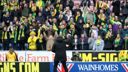 City boss Daniel Farke with some of the 5,000-plus Norwich City fans who travelled to Wigan in April