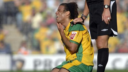 Darel Russell feels the pain at Carrow Road in 2007 Picture: Archant