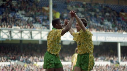Efan Ekoku, left, celebrates with Mark Bowen on his way to scoring four goals at Goodison in Septemb