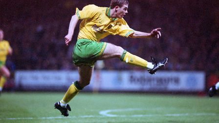 Jamie Cureton in action during his debut against Everton at Carrow Road on November 5, 1994 Photo: A