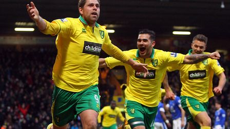 Grant Holt celebrates after scoring a late, late winner at Carrow Road in Ferbuary, 2013 Picture: Pa