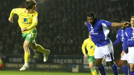 Wes Hoolahan heads home during a 3-2 win at Leicester in March 2011. Picture: Paul Chesterton