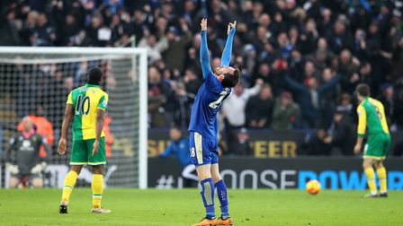 Christian Fuchs celebrates after Leonardo Ulloa's late winner at the King Power Stadium. Picture by