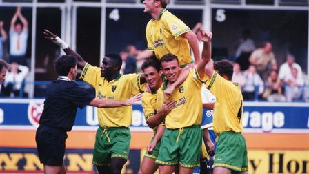 Jon Newsome was on target for City against Leicester in 1994. Picture: Archant