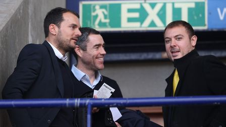 Norwich City sporting director Stuart Webber, Andy Hughes and chief operating officer Ben Kensell. P