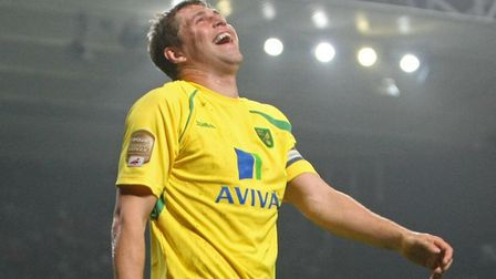 Grant Holt can't stop laughing as City made it 5-1 at Portman Road in 2011. Picture: Paul Chesterton