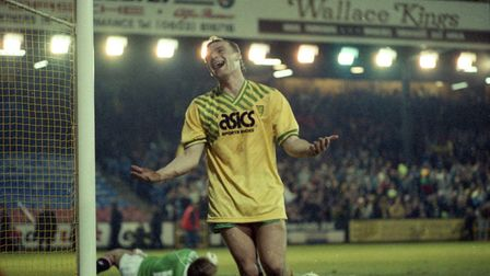 Robert Fleck during NCFC v Manchester United (2-0) on 21 January 1990. Picture: Archant Library