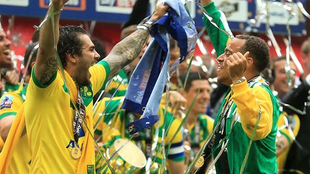 Two of Norwich City's 2015 play-off winners Bradley Johnson, left, and Elliott Bennett will be team-