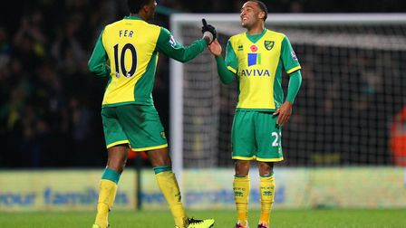 Scorer Leroy Fer and Nathan Redmond after the win over West Ham at Carrow Road in November, 2013 Pic