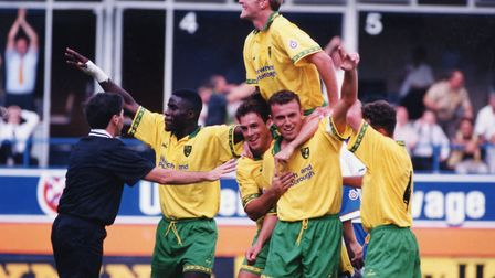 Norwich City celebrate one of two Jon Newsome goals, as they begin the 1995-96 Division One campaign