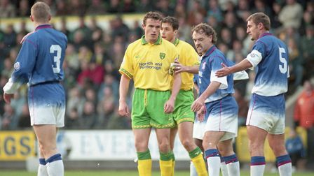 Norwich City captain Jon Newsome prepares for a corner - from which he scored - in the East Anglian