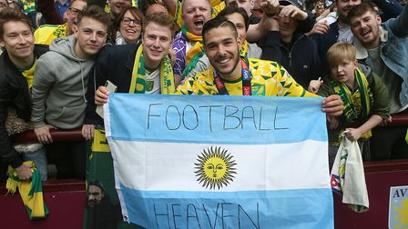 Former Argentina U20 international Emi Buendia was a hit with the Norwich City fans Picture: Paul Ch