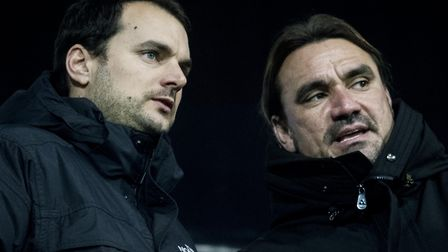 Norwich City head coach Daniel Farke, right, and sporting director Stuart Webber are reportedly keen